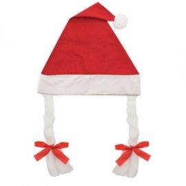 Gorro de Navidad con Trenzas Rojo
